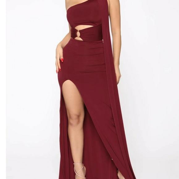 Glamorous Affair High Slit Maxi Dress - Burgundy